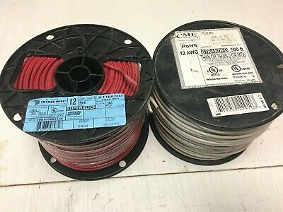 1000' Thhn 12 Awg Gauge White & Red Stranded Copper   Wire