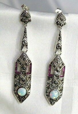 925 Sterling Silver Stunning  Art Deco Style Marcasite  Link Earrings