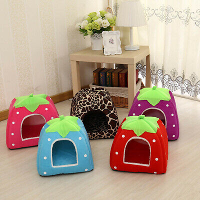 Cute Strawberry Shape Pet Dog Cat Puppy Bed Cave House Washable Cushion Soft Bed