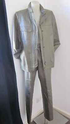 1980,s fab orig vint Italian khaki leather 2pce of pants anf zip jkt,29'waist