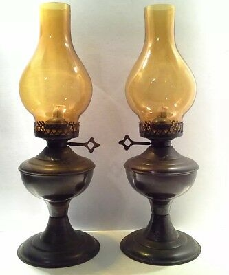 2 Large Vintage Amber Glass Oil Lamps