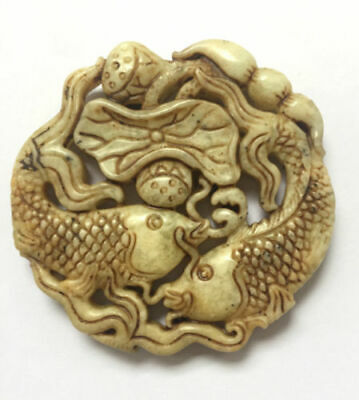 Chinese ancient culture of natural old jade hand carved Lotus fishs Pendant
