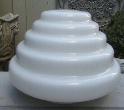 Stunning Vintage Art Deco Beehive Shaped Milk Glass Light Lamp Shade