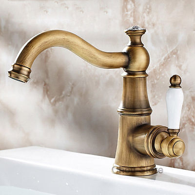 Antique Bronze Bathroom Basin Faucet White Porcelain Handle Swivel Spout Mix Tap