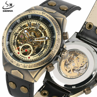 Classic SHENHUA Automatic Mechanical Mens Watches Skeleton Leather Stap Watch