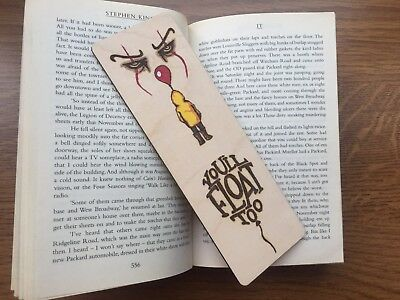 Wooden Wood Burnt IT bookmark Colour Stephen King Pennywise Reading Gift
