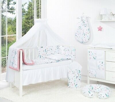 BABY BEDDING SET COT COTBED 3- 5 -6 -14 Pieces PILLOW DUVET COVER BUMPER CANOPY