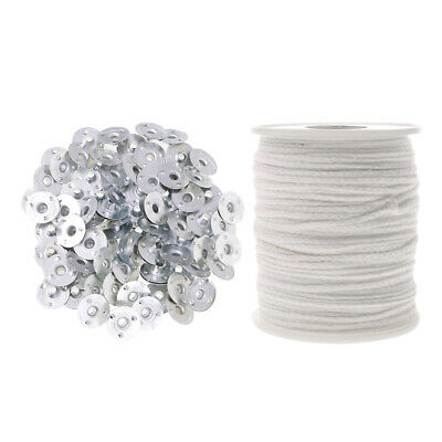 Candle Making Supplies Metal Wicks Tabs + 200ft Sustainers Cotton Cord Wicks