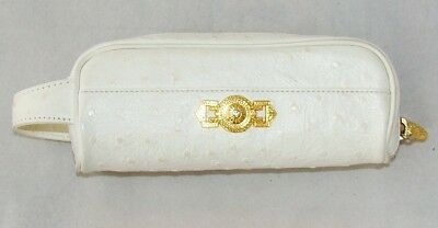 be5bf67796c5 Gianni Versace ostrich leather vintage white small bag purse case metal  cream