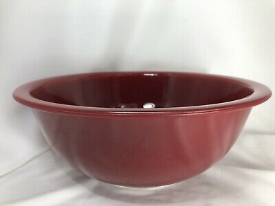 Vintage Pyrex Red Maroon Clear Bottom #325  Mixing Bowl 2.5L