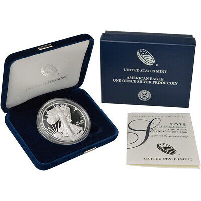 2016-W AMERICAN SILVER EAGLE Proof $ Frosty Cameo 1oz Fine Silver Box &  COA