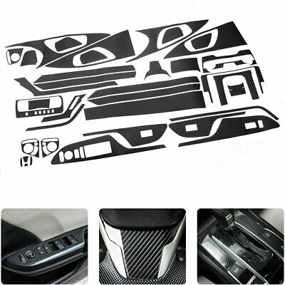 Carbon Fiber Style Dashboard Armrest Panel Stickers Decal For Honda Civic 16-18