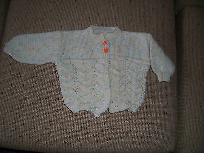 New Hand Knitted  Baby Jacket/Cardigan Cream  Multi Fleck 12 -18  Months Approx