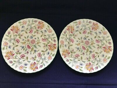 """Pair of Minton """"Haddon Hall"""" Dinner Plates, 27cm-Excellent Condition"""
