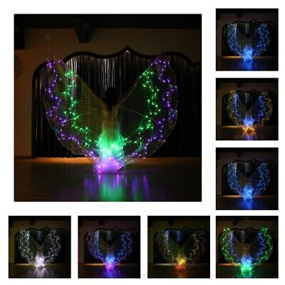 Color Changeable Glow Butterfly LED Belly Dance Wings Light up Isis Wings