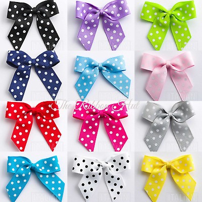 5cm Large Polka Dot Grosgrain Ribbon Bow–(Self Adhesive)-Pack of 6 -Pre tied Bow