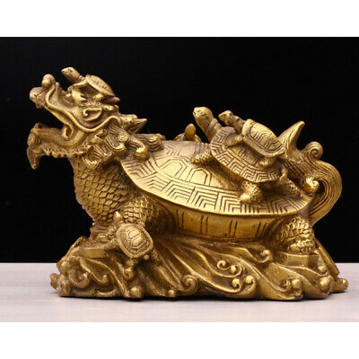 Golden Plated Dragon Turtle Feng Shui Copper Wealth Coin Luck Charm Mascot a