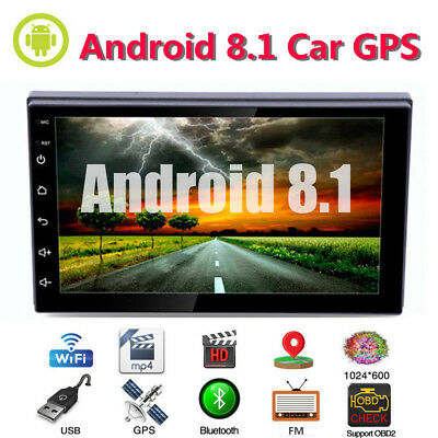 "Android8.1 7"" Double 2DIN In dash Car stereo Radio Player GPS Navigation WiFi"