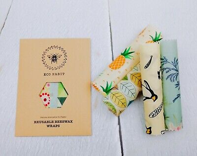 Bundle of 4 Eco Habit 100% Natural Beeswax Food Wraps , Little Kitchen Gems