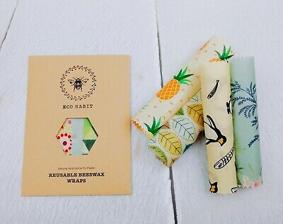 Set of 4 Eco Habit 100% Natural Beeswax Food Wraps , Little Kitchen Gems