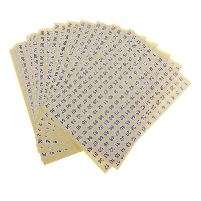 15pcs White Round Self Adhesive Black Numbers Stickers Numbered Labels 10mm