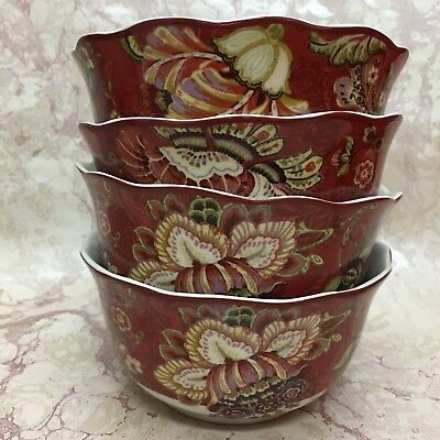 222 Fifth GABRIELLE RED Cereal Bowls Set of (4) Brand New!