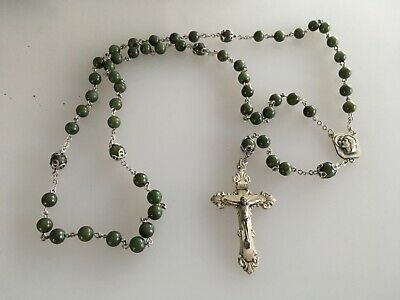 Vintage Sterling Silver Bead JADE Catholic gift Rosary Necklace Crucifix