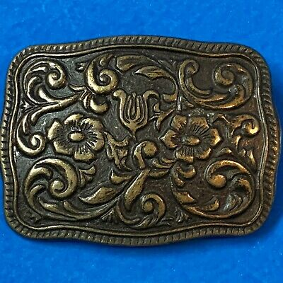 Women's Western Country Style BRASS BELT BUCKLE - Embossed Floral