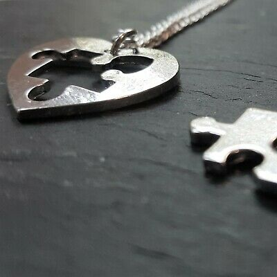 Set of Two Jigsaw Heart Necklaces, Mother & Daughters -  Mothers Day Gift