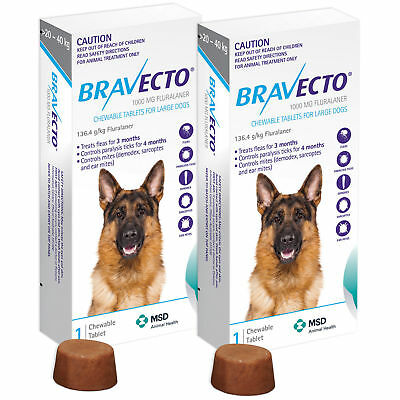 2 BOXES CHEWABLE TABLETS BRAVECTO 1000 mg. LARGE DOG 20-40 Kg. EXP.2020