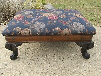 Vintage Footstool Victorian Walnut Carved Scroll Feet Floral Material Top
