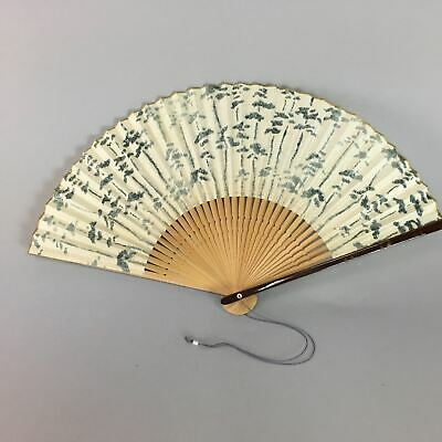 Japanese Paper Folding Fan Vtg Sensu Gray Green Leaf Tree Bamboo Wood 4D221