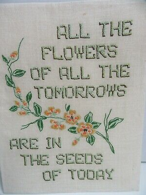 Finished Crewel Embroidery Flowers of Tomorrows Seeds Today Indian Proverb