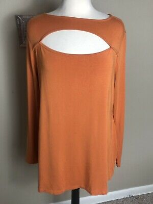 4d2bc631d8 Soft Surroundings Blouse Size XL Beckett Top Apricot Orange Boatneck Knit  EUC
