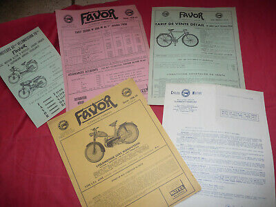 catalogue prospectus tarif FAVOR cyclomoteur vélomoteur vélo bicyclette 1958-59
