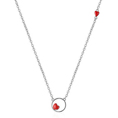 925 Sterling Silver Charm Red Heart Pendant Necklace Women Lady Jewellery Gift