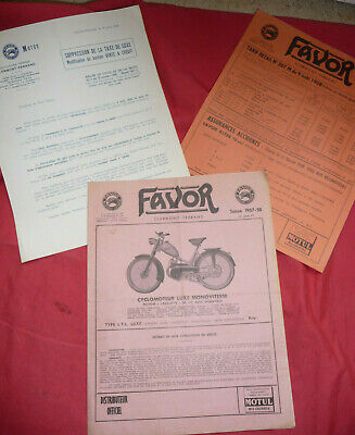 catalogue prospectus tarif FAVOR cyclomoteur vélomoteur vélo bicyclette 1957-58