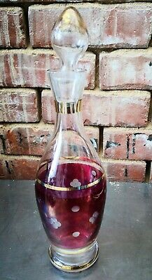 Vintage Antique Bohemian Cranberry Clear And Gold Decanter 34.5Cms High