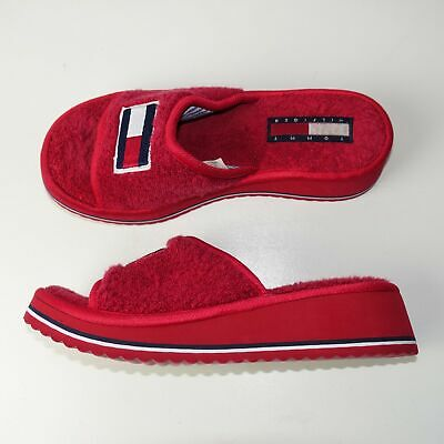 6b0215caaf89 Tommy Hilfiger Womens Vintage Wedge Slippers Sandals Slip On Red Size 6-7M