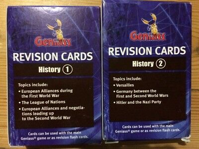 Brand NEW Revision GCSE Geniass History 1&2 cards: AQA OCR EdExcel compatible
