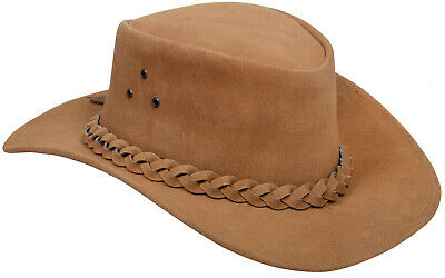 bcaea05a5dc Aussie Tan Western Style Cowboy Outback Real Suede Leather Aussie Bush Hat