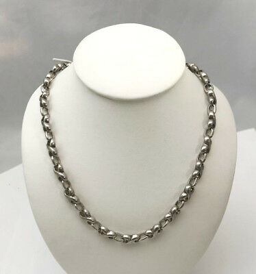Vintage Unisex Solid Sterling Silver Link Chain Necklace 16 inches 41 grams