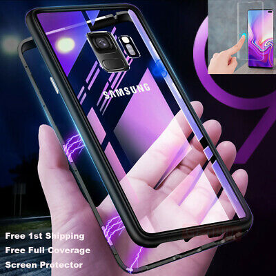For Samsung Galaxy Note 9 S8 S9 S7 Magnetic Absorption Tempered Glass Case Lot