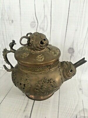 Antique Copper And Brass Teapot-Ornate Dragon Motif-Kashmir-Handcrafted