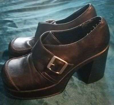 dc95b0a3df MUDD BLACK VINTAGE 90s Goth Punk Boho Retro Platform Buckle Shoes Heels 8 -   25.00