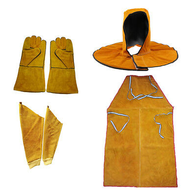 Leather Welding Welders Apron Safety Workwear Sleeves Gloves Head Cover Set