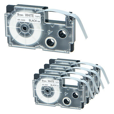 5 PK Compatible for EPSON/KingJim LC-3WBN/SS9KW 3/8'' Black on White Label Tapes