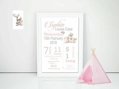 Personalised Baby Nursery Decor Wall Art Print, Birth Announcement Boho A4