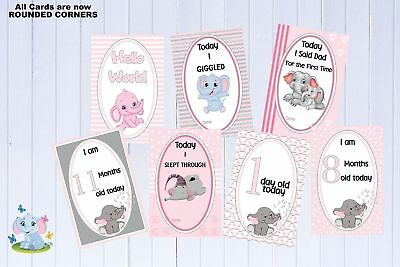 "Baby Milestone Cards Elephants Girl Pink 6""x4"" Pink Pkt 35 Cards New Mum"