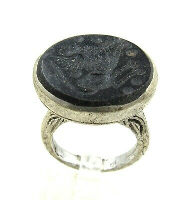 Authentic Post Medieval Silver Ring Intaglio Stone W/ Beast - Wearable - J232